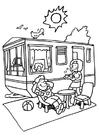 Målarbild campingsemester