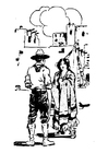 Målarbild cowboy och kvinna