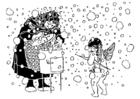 Målarbild Cupido och den gamla kvinnan