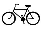 Målarbild cykel i silhuett