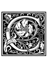 Målarbild Dekorativt alfabet - C