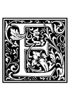 Målarbild dekorativt alfabet - E