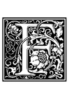 Målarbild dekorativt alfabet -F
