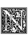Målarbild dekorativt alfabet - N