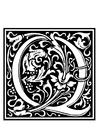 Målarbild Dekorativt alfabet - Q