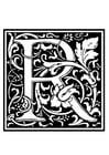 Målarbild dekorativt alfabet -R