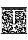 Målarbild dekorativt alfabet -T