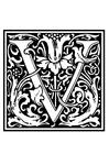 Målarbild dekorativt alfabet - V