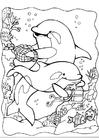 Målarbild delfiner 2