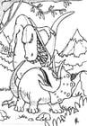 Målarbild dinosaurier i kamp