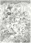 Målarbild djur i skogen