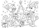 Målarbild djurens jul