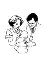 Målarbild doktor med baby