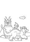 Målarbild drake framför slottet
