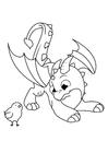 Målarbild drake leker med brud