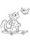 Målarbild drake med fÃ¥gel