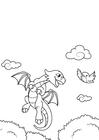 Målarbild draken flyger med fÃ¥gel