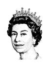 Målarbild drottning Elizabeth II