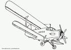 Målarbild dubbeldäckare - flygplan