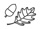 Målarbild ekollon och ekblad