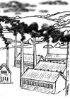 Målarbild fabriker - luftföroreningar