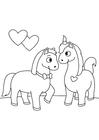 Målarbild förälskade hästar