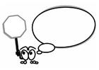Målarbild figur med pratbubbla och stoppsignal