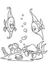 Målarbild fisk i havet med krabba