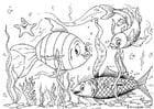 Målarbild fiskar