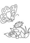 Målarbild fjäril med blommor