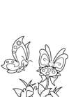Målarbild fjäril med vän