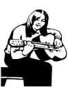 Målarbild flicka med gitarr