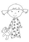 Målarbild flicka med gosedjur