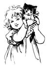 Målarbild flicka med katt