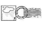 Målarbild frimärke och poststämpel