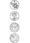 Målarbild fyra Ã¥rstider - symboler
