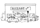 Målarbild garage med textad skylt