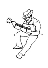 Målarbild gitarrist