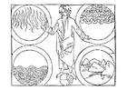 Målarbild Gud och de fyra elementen