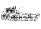 Målarbild hästar med vagn