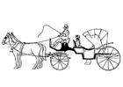 Målarbild hästar och vagn