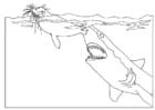 Målarbild haj attackerar säl