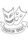 Målarbild halloweenmasker - bus eller godis