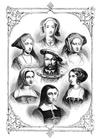 Målarbild Henrik VIII och hans 6 fruar