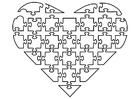 Målarbild hjärta som puzzel