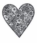 Målarbild hjärta med blommor