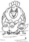 Målarbild höna med kycklingar