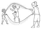 Målarbild hoppa rep