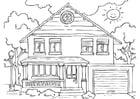 Målarbild hus - exteriör