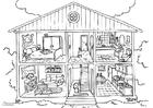 Målarbild hus - interiör